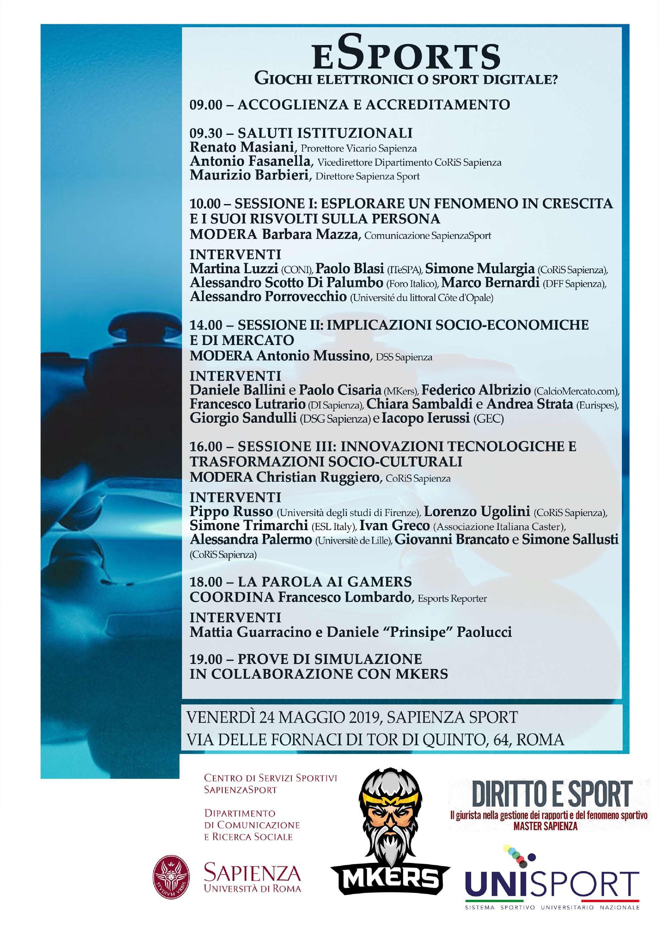 15bd2d7f37 Gli e-sports sotto la lente d'ingrandimento dell'Università La Sapienza
